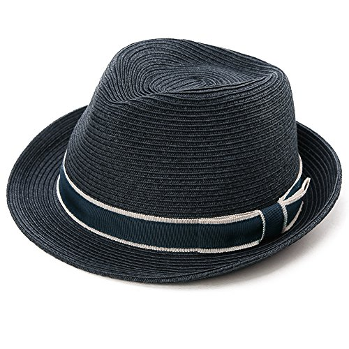 Packable Straw Fedora Panama Sun Summer Beach Hat Trilby Men Women Navy Blue (Woman With A Blue Hat)
