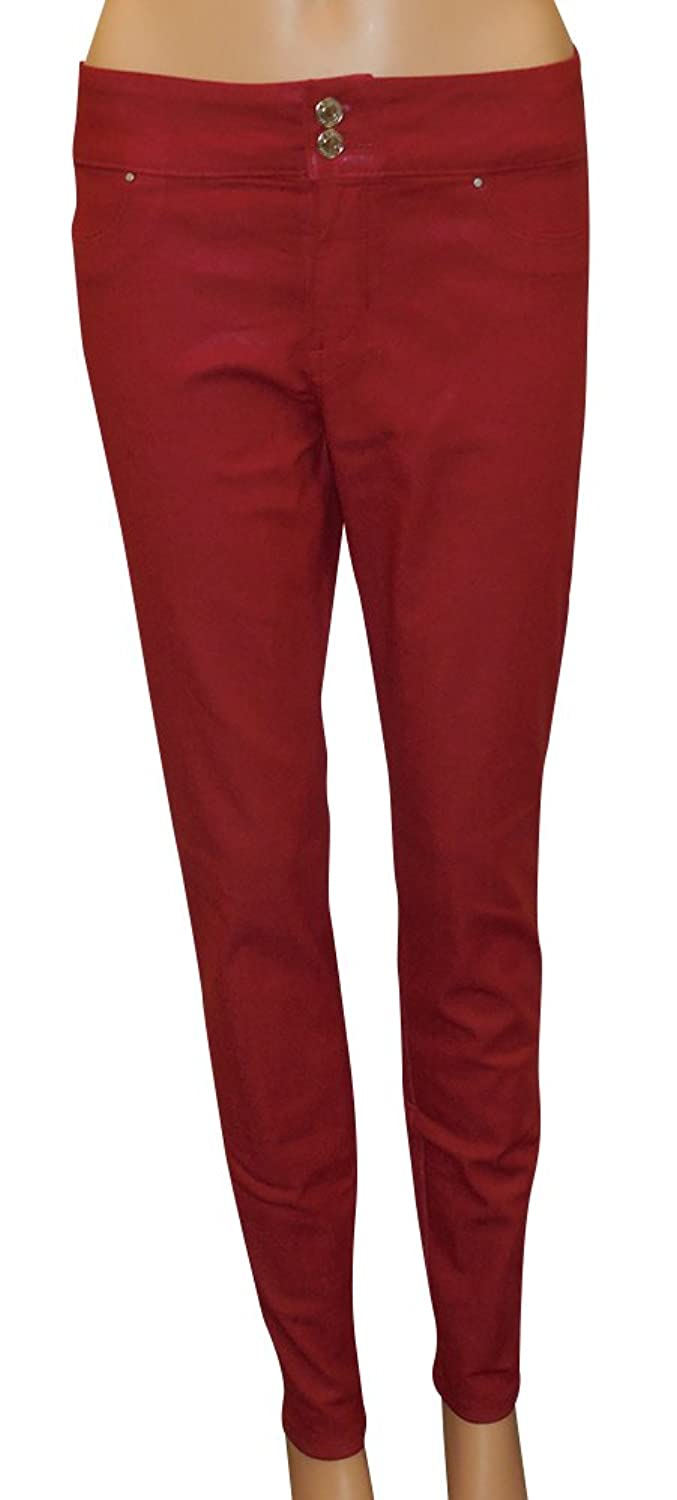 GUESS Women's Mid-Rise Curvy Jeggings with Coated Rockin Red Wash