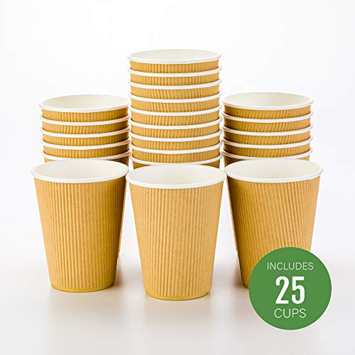 25-CT Disposable Kraft 12-OZ Hot Beverage Cups with Ripple Wall Design: No Need for Sleeves - Perfect for Cafes or Home Use - Eco-Friendly Recyclable Paper - Insulated - Wholesale Takeout Coffee Cup