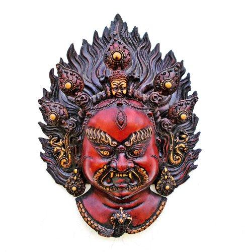 (CraftVatika Mahakala Wall Hanging Mask, Tibet Bhairav Shiva Wall Sculpture, Buddhism Tibetan Old Vintage Statue Head Face )
