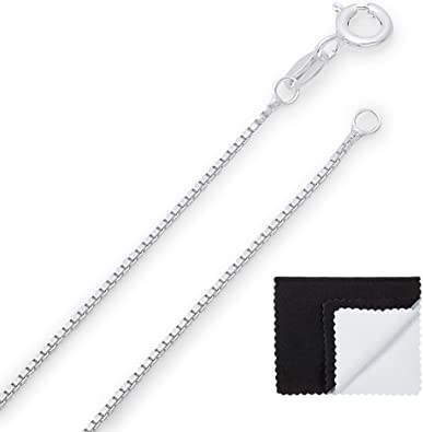 Jewelry Cleaning Cloth Made in Italy Pure .925 Sterling Silver Gold Plated 1mm Box Chain or Bracelet