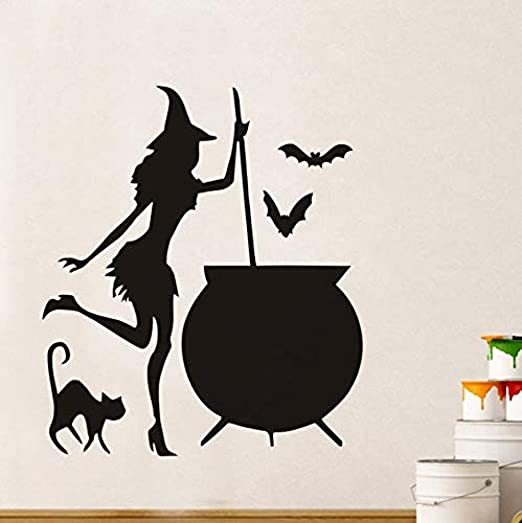 Pegatinas de pared, murales, jardín Pot Potion Bat, gato ...