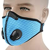 Dust Face Mask, Upgrade Version Workout Mask PM2.5 Air Safety Filter Suitable For Outdoor Activity Interior Work Pro Half Face Mask iSKUKA (Mask 2-Blue)
