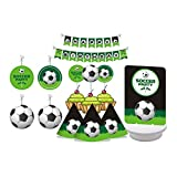 Soccer Party. Green and Black. Soccer Ball Kids Party. Soccer Birthday Decorations for Boys. Includes Party Hats, Centerpieces, Bunting Banner, Danglers and Cupcake Toppers.