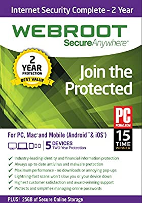Webroot Internet Security Complete + Antivirus 2017 | Mac | 5 Device | 2 Year Subscription