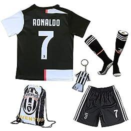 uijinzhongs Maillot de Football pour garçons # 7 Ronaldo Juventus Home - Pantalon et Chaussette de Football pour Enfants avec Chaussettes de Football .Sac. Porte-clés