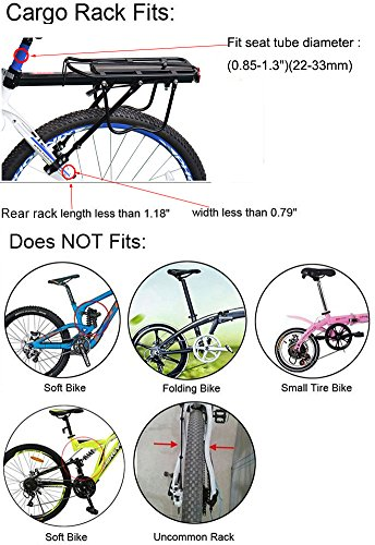 Bicycle Cargo Rack, Universal Adjustable Bike Carrier Rack Quick Release Luggage Cargo Rack Load 110 Lbs Bicycle Pannier Accessories with Reflector for 24''-29'' Frames by Calar (Image #3)