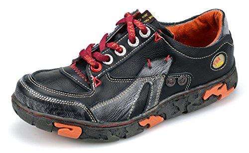 TMA Damen Schuhe Echtleder Halbschuhe Schnürschuhe 4167 Schwarz