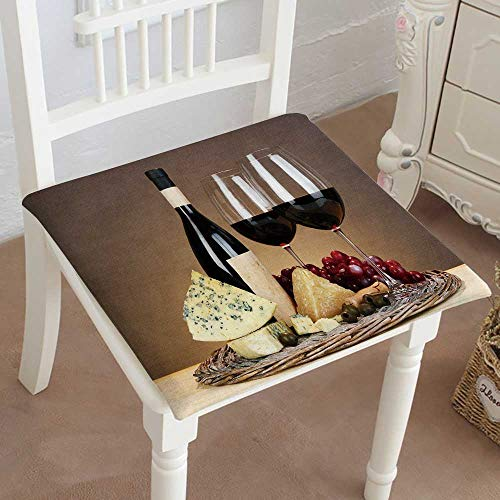 (Mikihome Dining Chair Pad Cushion Refined Still Life of Wine Cheese and Grapes on Wicker Tray on Wooden Fashions Indoor/Outdoor Bistro Chair Cushion 14