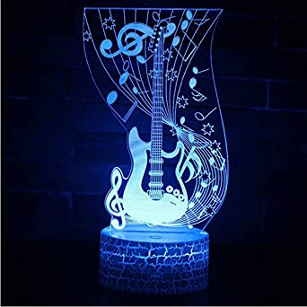 Nota Musical Guitarra 3D Lámpara Led Night Light 7 Cambio De Color ...