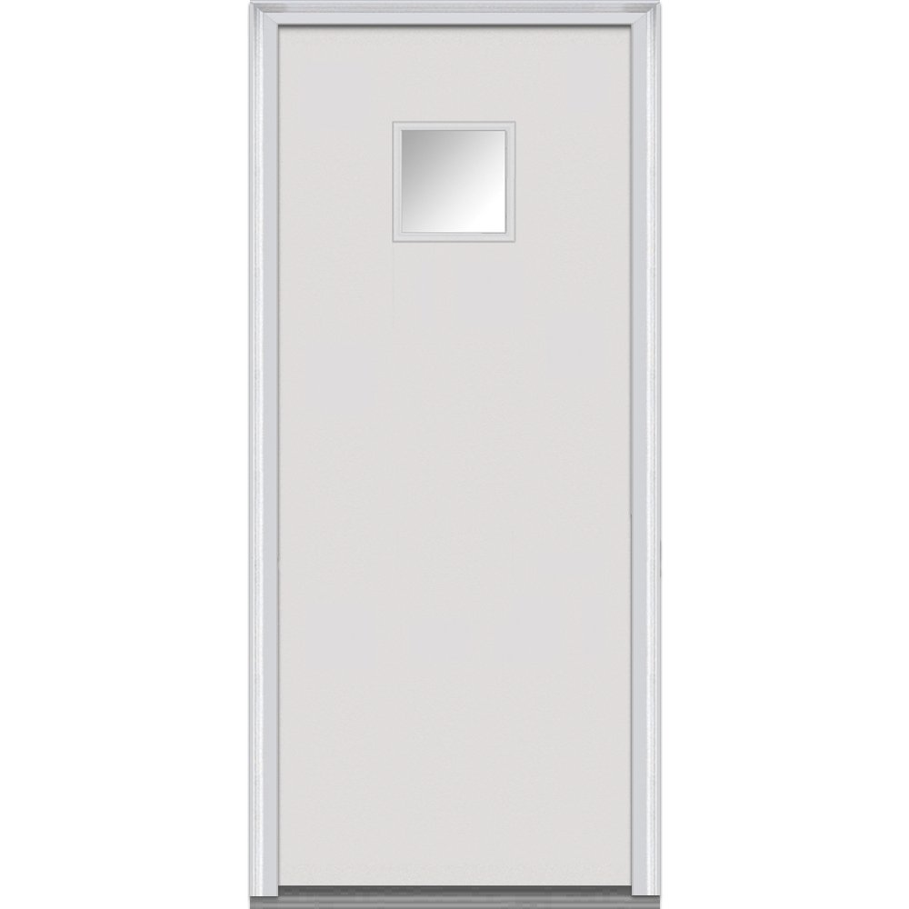 National Door Company Z000711R Steel Primed, Right Hand In-swing, Prehung Front Door, Square 1/4 Lite Flush, Clear Glass, 28'' x 80''