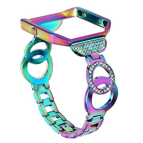 VOMA for Fitbit Blaze Bands Women Men with Frame, Stainless Steel Fitbit Blaze Watch Band Fitbit Blaze Accessories Fitbit Bands Blaze Fit bit Blaze Bands Large Small Bangle 3 Colorful