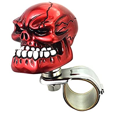 Arenbel Skull Steering Wheel Knob Spinner Car Grip Suicide Control Handle Knobs Turning Aid fit Most Vehicle/Truck, Red: Automotive
