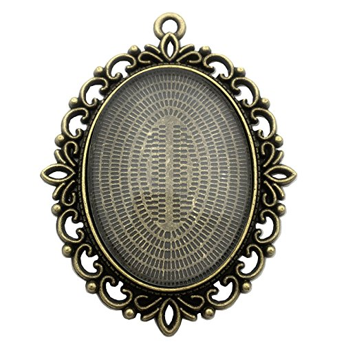 6 Sets 40x30mm Oval Clear Glass Cabochon Covers and Antique Bronze 30x40mm Oval Alloy Pendant Trays Cabochon Settings (Antique Bronze d281)