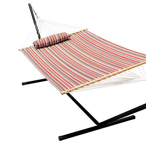 Lazy Daze Hammocks 15 Feet Heavy Duty Steel Hammock Stand, Two Person Quilted Fabric Hammock and Pillow Combo,Sienna -