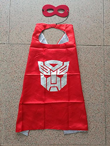 Superhero Halloween Party Cape and Mask Set for Kids 15+ Styles! (Transformers Optimus Prime (Red)) (Homemade Halloween Makeup Zombie)