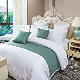 OSVINO Simple Solid Color Polyester Cotton Bedroom Guesthouse Bedding Protection Decor Bed Scarf Runner, Green, CA King