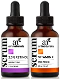 ArtNaturals Organic Vitamin-C and Retinol Serum – (1.0 oz x 2) Holiday Gift Set - Anti Wrinkle & Dark Circle Remover (Morning & Night Anti Aging Therapy) – All Natural and Moisturizing Treatment