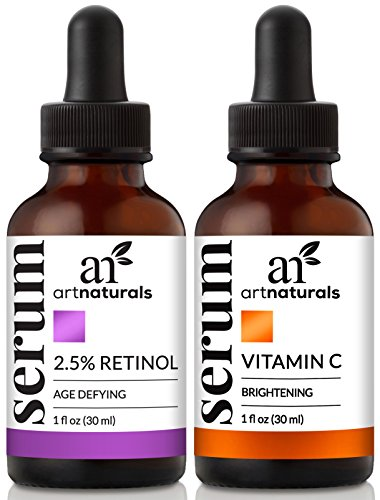 ArtNaturals Organic Vitamin-C and Retinol Serum - (1.0 oz x 2) Holiday Gift Set - Anti Wrinkle & Dark Circle Remover (Morning & Night Anti Aging Therapy) - All Natural and Moisturizing Treatment