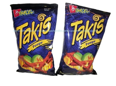 Takis Fuego Hot Chili Pepper & Lime Flavored Corn Snacks(Two 9.9 oz. Bag)]()