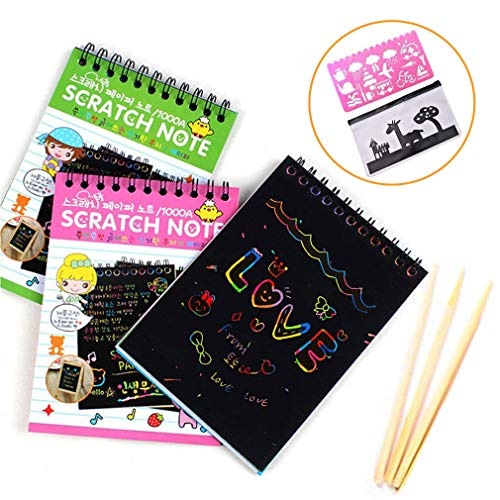 Scratch Art Papers, Rainbow Scratch Papers, Magic Doodling Notes Drawing Notepads for Kids with 3 Colorful Mini Notebooks and 3 Wooden Styluses, Perfect Gift for Girls and Boys