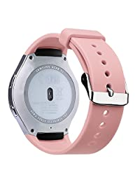 """V-Moro Samsung Gear S2 band - Soft Silicone Replacement Strap Band With Adapters for Gear S2 SM-R720/SM-R730 Smartwatch, fits 5.1""""- 7.6"""" Wrist - Pink"""