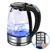 Yoleo 12831 Blue Illuminating Glass Electric Kettle with Temperature Control Keep Warm Function,1.7 Litre, 2000 Watt, Auto-Off & Boil-Dry Protection,Cordless,Boiler for Hot Water & Tea Make, Black
