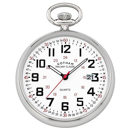 Date Quartz Pocket Watch - Gotham Men's Silver-Tone Analog Quartz Date Railroad Pocket Watch # GWC14105S