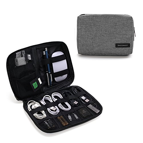 BAGSMART Electronic Organizer Small Travel Cable Organizer Bag for Hard Drives, Cables, Charger, USB, SD Card, Grey