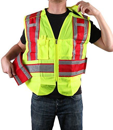 Safety Depot Class 2 Ansi/ISEA Mesh Reflective 5 Point Breakaway Public Safety Vest With Zipper, Pockets, Mic and Radio Tabs ANSI/ISEA Color Coded PWB503 (Fire Service Red Filled, Jumbo)