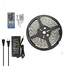 JOYLAND 16.4ft RGBW Warm white Color Changing LED Strip Light Kit, With 5050 300leds Waterproof 12V RGBW LED Flexible Lighting, Controller With 40-button Remote and 12V 5A Power Supply, White Roll LED Tape