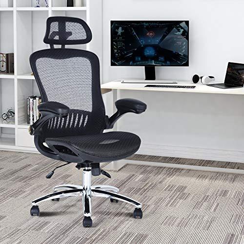 FurnitureR Silla ergonómica de Malla de Respaldo Alto con Respaldo Ajustable, reposacabezas, Brazos abatibles y Altura del Asiento para Sala de conferencias Neg