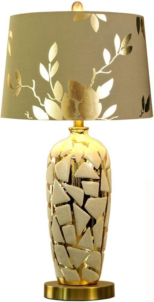Salon et Chambre /à Coucher Chinois Lampe ceramique LJFYMX Lampes de Bureau Lampe en Porcelaine Grande Lampe de Table Orientale en c/éramique dor/ée Size : 55 * 28