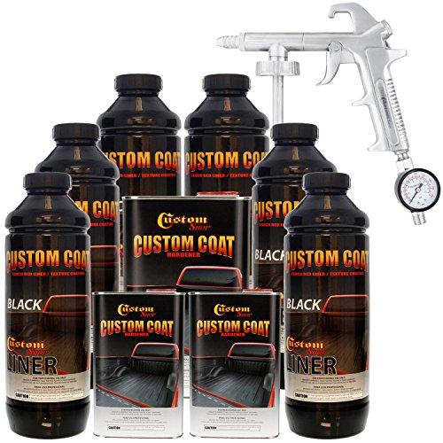 (Custom Coat BLACK 6 Liter Urethane Spray-On Truck Bed Liner Kit with (FREE) Custom Coat Spray Gun with Regulator)