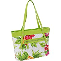 Overstock.com deals on Parinda Fiona Green Floral Quilted Carry-all Tote Bag