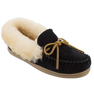 82caeca1b71 Minnetonka Womens Alpine Sheepskin Moccasin Black Suede Size 5