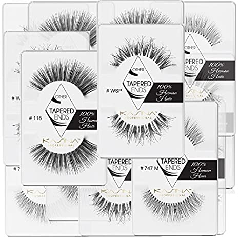 Amazon.com: [3-6packs] KASINA Pro Lash.Tapered ends in 100% Human hair. Most natural look, lightweight, soft and comfortable.: Beauty