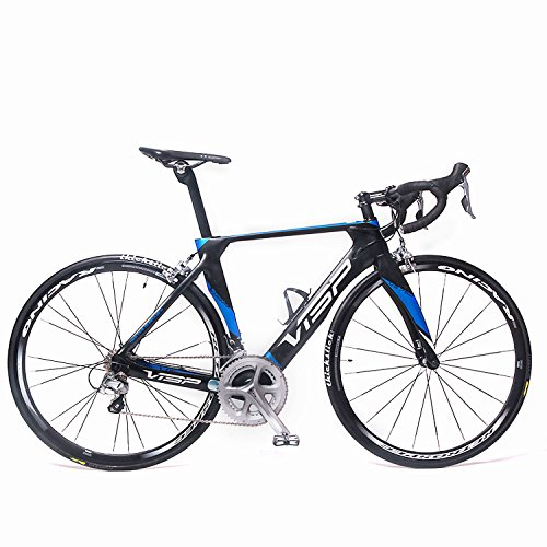 VTSP VS-750 Carbon Fiber Frame 22 Speeds Road Bike 56cm Shimano 700X23C M5800 105 Pro C Brakes System Road Racing Bike For Man (Black-blue) VTSP