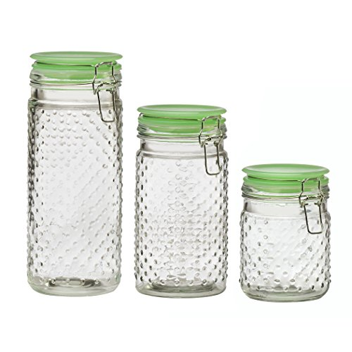 Amici Home A7CT003AS3R Assorted Emma Jade Hobnail Collection Jar-Set of 3, ()