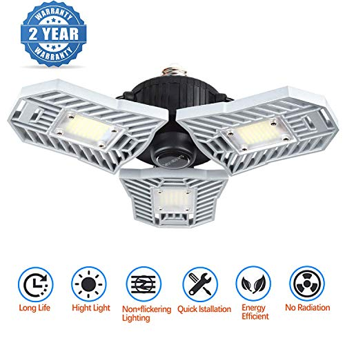 Led Garage Lighting, Deformable Garage Light 6000LM, 60W Shop Lights for Garage, Ultra-Bright Mining Lamps with 3 Adjustable Panels, Garage Ceiling Light for Workshop/Warehouse (No Motion -