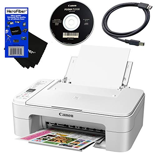 Canon 4800 x 1200dpi Wireless All-in-One Compact Inkjet Printer for Home Use with Print, Scan, Copy (White) + Set of Ink Tanks + USB Printer Cable + HeroFiber Ultra Gentle Cleaning Cloth