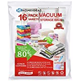 HOMEIDEAS Premium Space Saver Bags, 16 Pack Vacuum Storage Bags (6 Medium, 4 Large, 4 XL, 2 Jumbo) with 2 Free Roll Up Bags No Vacuum Needed and 1 Free Hand Pump