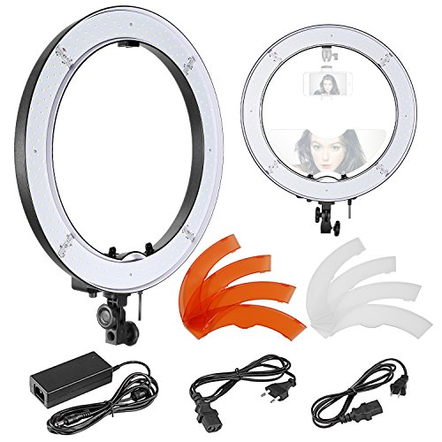 Neewer 18-inch Outer SMD LED Ring Light with Top/Bottom Dual Hot Shoe and Color Filters, Dimmable 5500K Camera/Smartphone Light for Selfie Makeup Studio Portrait YouTube Video Shooting (US/EU Plug)