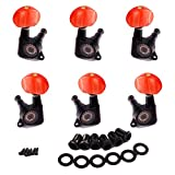 WINOMO Enclosed Gold Tuning Pegs Machine Head Tuners Peal Red Plastic Buttons for Acoustic Guitar 3L3R Pack of 6