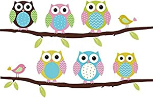 Wall Stickers of Tree Owls Wall Decals for Kids Rooms Nursery Baby Boys Girls Bedroom, Owls Stickers Paper Removable Home Living Dinning Room