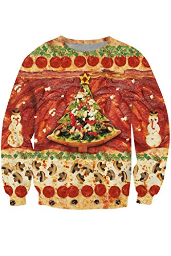 Pink Wind Women's Pizza Food Novelty Print Ugly Xmas Sweatshirt Shirt Red - Christmas Food