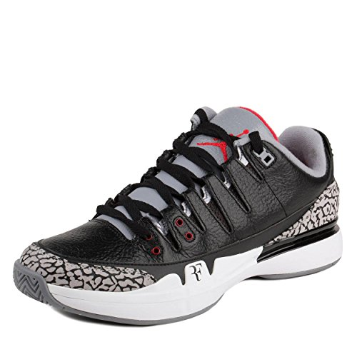 Nike Mens Zoom Vapor AJ3 Black/White-Cement Grey Leather Basketball Shoes Size 9.5