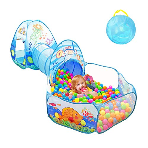 Sumerice Toddlers Play Tent Crawl Tunnel and Ball Pool with Basketball Hoop 3 in 1 Ocean Theme Play House for Kids Boys Girls Babies Indoor and Outdoor Games (Ocean Blue) by Sumerice