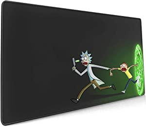 Anime Mouse Pad for Rick Sanchez, Desk Mat Pad with No-Slip Rubber Base and Stitched Edges,Waterproof - 3Mm Thick - Smooth Gaming Surface Mousepad for Computer & Laptop 11.8x23.6x0.12 Inch