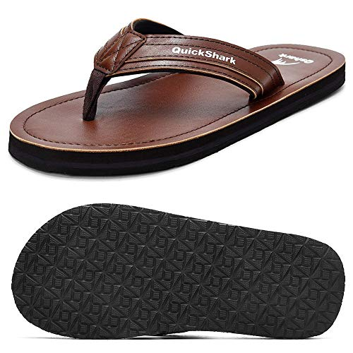 Quickshark Mens Leather Flip Flops Handmade Thong Sandals Beach Slippers Cushion Footbed (8 M US = EU 41, Brown)